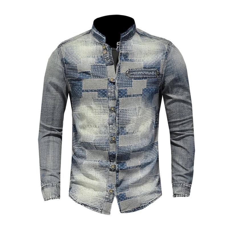 Hombres 2020 nuevos pantalones vaqueros de mezclilla camisa Vintage de manga larga Tops vaqueros de moda lavado Slim Fit ropa