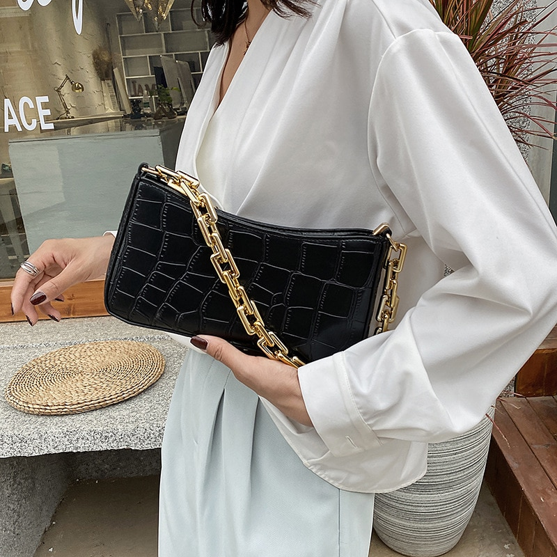 Stone Pattern PU Leather Armpit Bag For Women 2020 Solid Color Metal Chain Shoulder Handbags Female