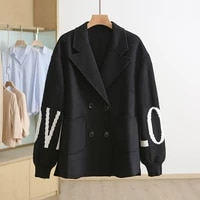 off season sale splicing double breasted printed letters double faced tweed coat popular color coordinates womens clothing