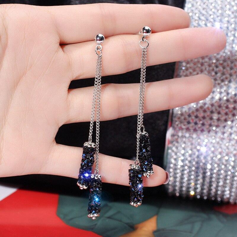 2019 nuevos pendientes de borla de cristal azul pendientes geométricos largos de la joyería de la novia