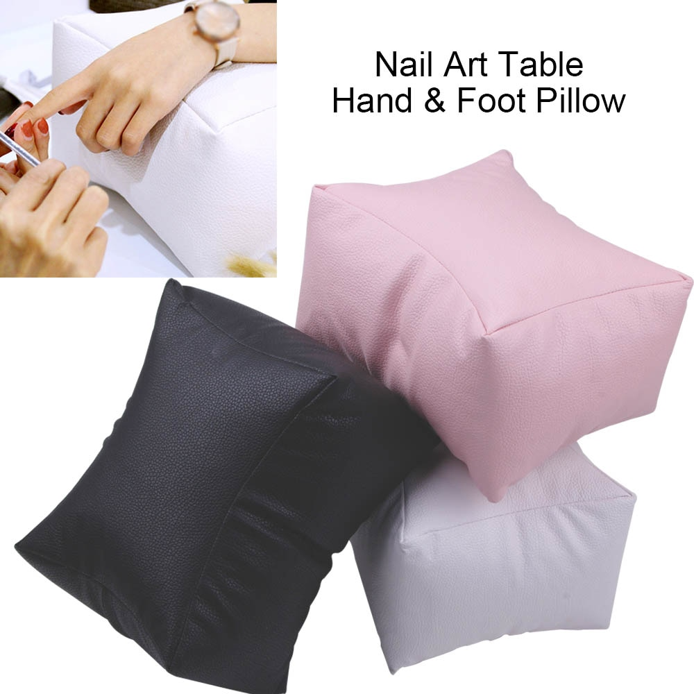Cojín para mesa de doble propósito para manos y pies para decoración de uñas, almohada para el cuidado de las uñas, herramienta de manicura para salón, reposabrazos de cuero PU