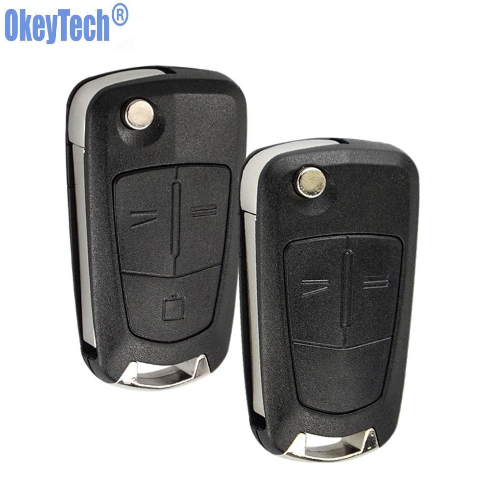 OkeyTech флип-чехол для ключей для OPEL Astra Corsa D Vectra C Zafira 2 3 кнопки чехол для дистанционного ключа от машины нерезаное лезвие пустая Замена