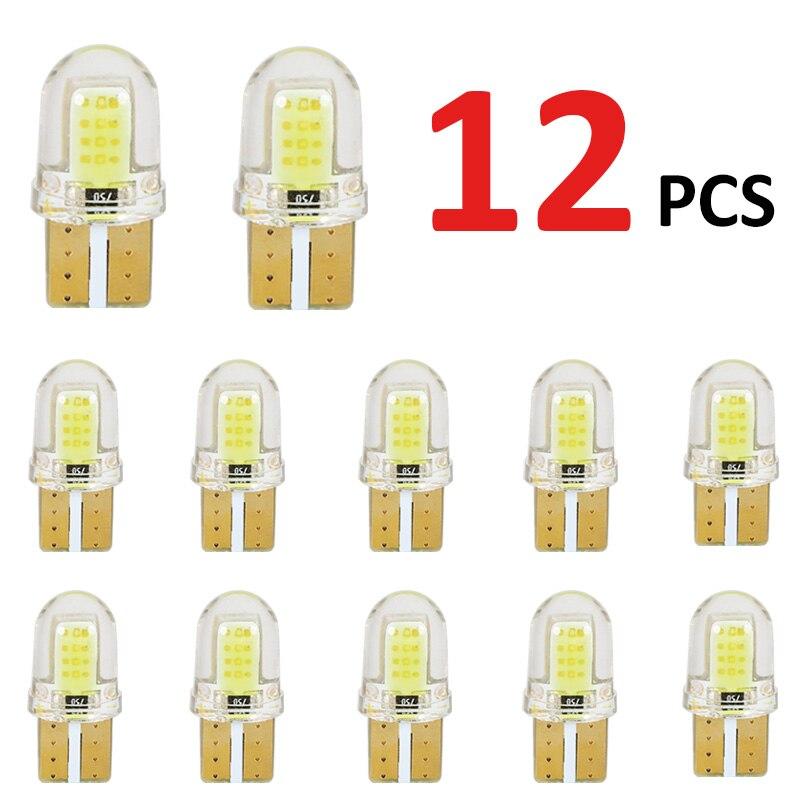 12 sztuk LED T10 W5W 194 168 W5W COB 8SMD podświetlenie tablicy rejestracyjnej żarówki żarówka do światła postojowego samochodowa lampa obrysowa samochodowa krzemionkowa Super jasne żarówki