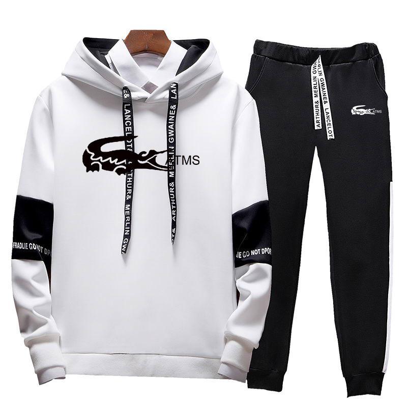 2020 nova moda masculina conjunto hoodies + calças conjuntos de treino masculino casual fino ajuste roupas esportivas masculino marca suor camisas roupas