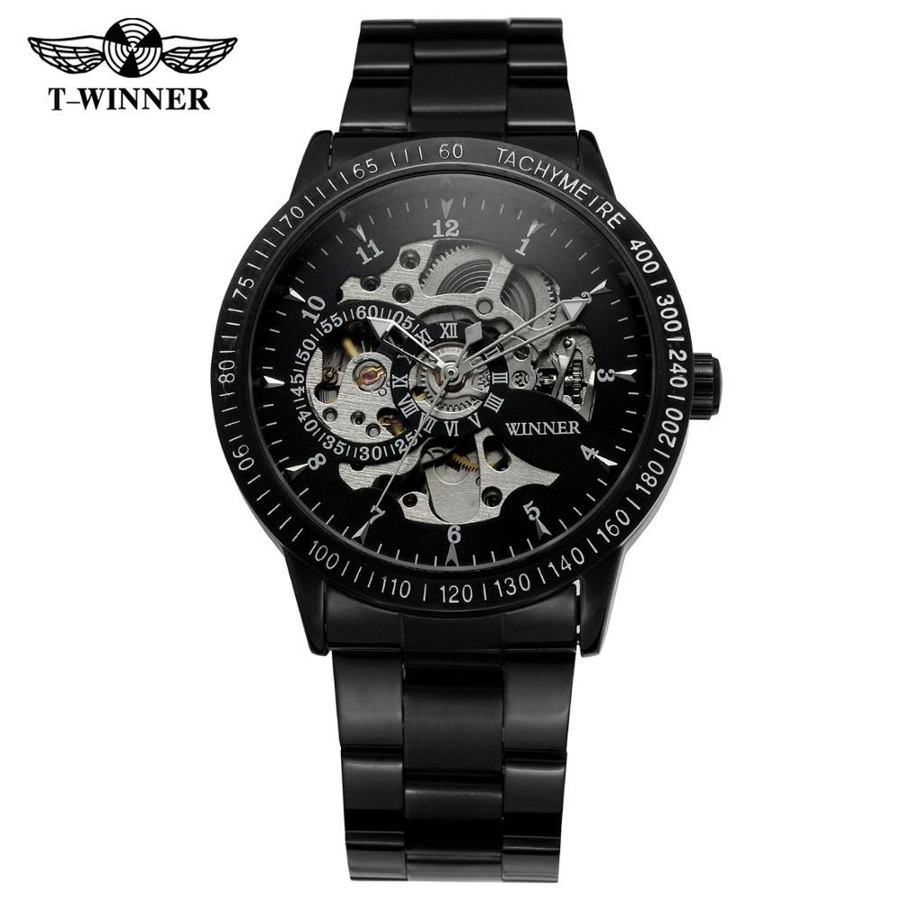 WINNER Fashion trend men's and women's wrist watch black stainless steel strap automatic mechanical wrist watch