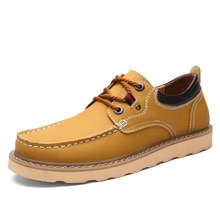Genuine leather Shoes Man 2020 New high quality Cow Leather Comfy Lace-up Men Casual Shoes Office Me