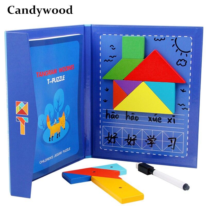 Tangram magnético & t-palavras puzzle jogo livro crianças brinquedos de madeira formas jigsaw puzzle board cedo brinquedos educativos para crianças