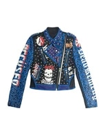 fashion brand leopard pu leather jacket women punk rivets motorcycle jackets female graffiti print lapel short coat