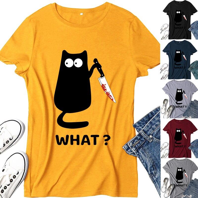 Camiseta para mujer gato negro, qué camiseta, cuchillo de gato asesino, camiseta divertida estampada, camiseta de camisas gótica, camiseta de 6 colores, 2020