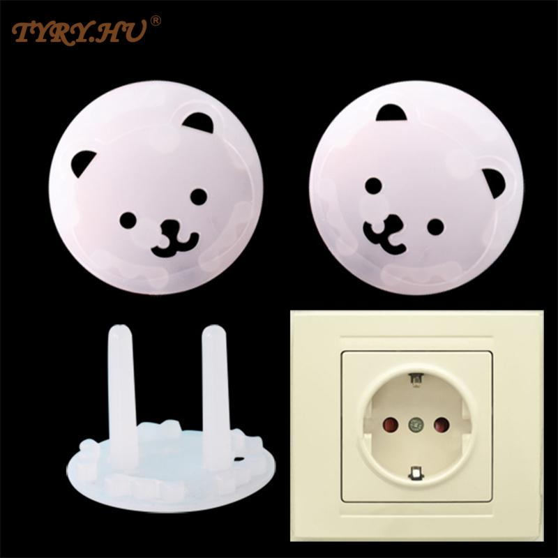 TYRY.HU 10pcs of European standard Baby Safety Child Electric Socket Outlet Plug Protection Security Two Phase Safe Lock Cover