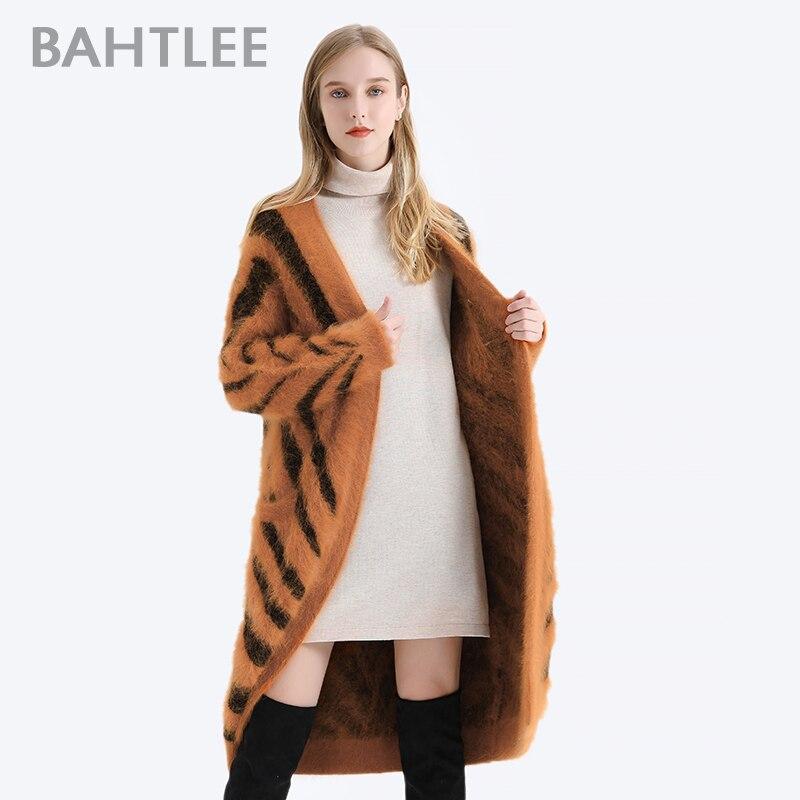 BAHTLEE Winter Women Angora Long Cardigans Sweater Tiger Stripe Leopard Pattern Wool Knitted Coat Jumper Open Stitc Mink V-Neck enlarge