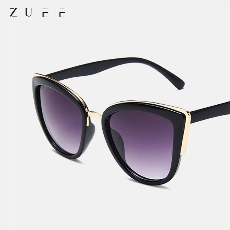 ZUEE Retro Cateye Sun Glasses Women Brand Design Vintage Female Glasses Fashion Cat Eye Sunglasses F