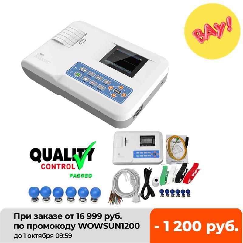 جهاز تخطيط كهربية القلب, جهاز جديد CONTEC محمول جهاز تخطيط كهربية القلب شاشة EKG طابعة مخطط كهربية القلب ECG100G