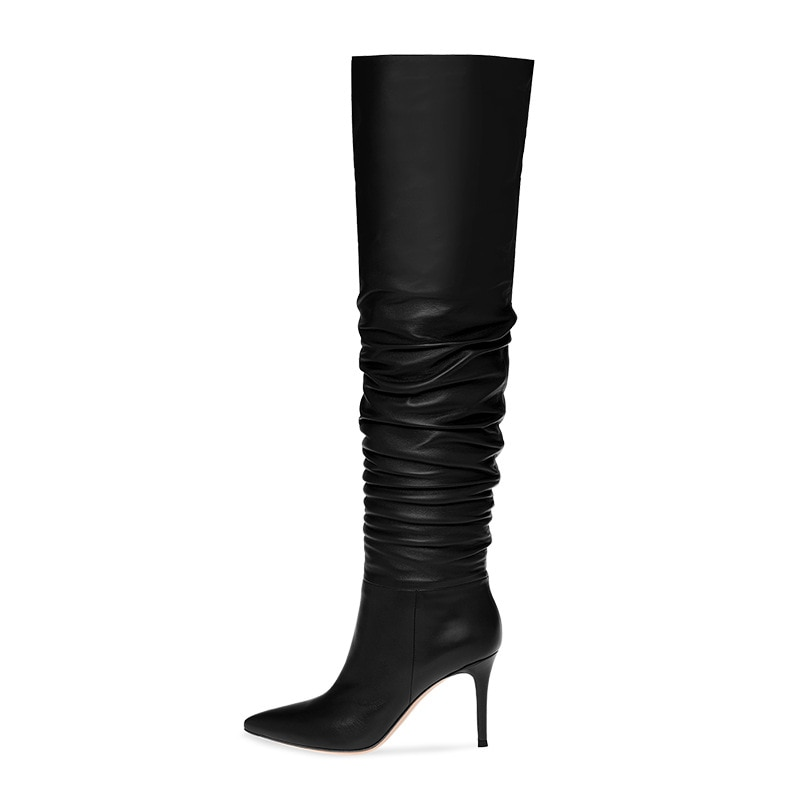 Women's Boots Black Wine Red Sexy Pointed Pleated Ladies Knee High Boots Thin Heels High Heel High Boot Botas Femininas Shoes