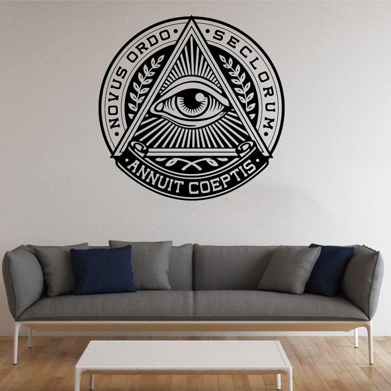 Etiqueta engomada de vinilo de la pared pirámide ojos etiqueta de la pared cartel luminoso etiqueta decoración del hogar salón dormitorio art etiqueta mural GXL13
