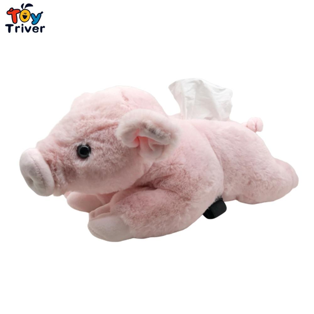 Kawaii Pink Piggy Plush Toy Triver caja de pañuelos caja servilleta soporte para papel de cocina decoración del hogar Gilfriend juguetes de regalo de cumpleaños para adultos