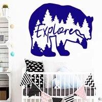 Dessin anime ours mur Art decalcomanie decoration autocollant de mode pour enfants chambres decor a la maison vinyle Mural decalcomanie