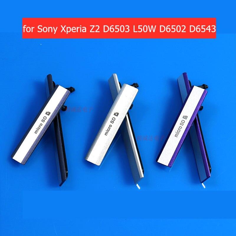 Para Sony Xperia Z2 D6503 L50W D6502 D6543 Micro SD USB + ranura para tarjeta SIM tapa de enchufe de polvo puerto de carga cubierta de polvo piezas de reparación