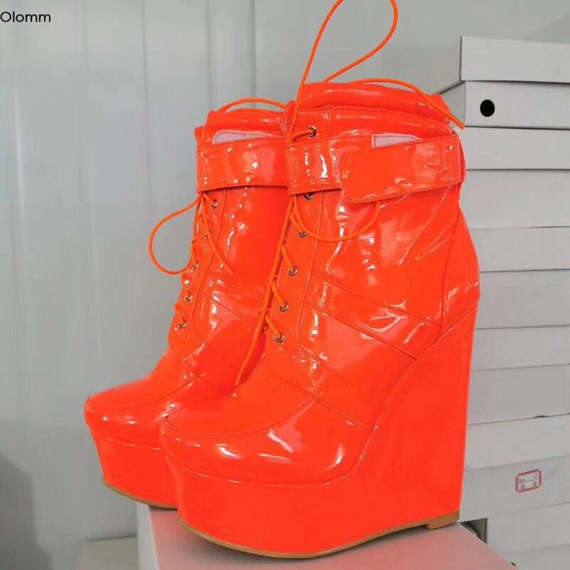 Olomm, botas bajas de cuña hechas a mano con plataforma para mujer, botas de tacón alto, punta redonda, brillante, rojo, rosa, zapatos de fiesta para mujer, tallas grandes de EE. UU. 5-15
