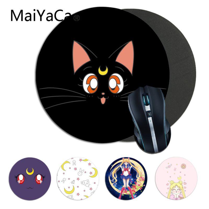 Maiyaca Menino Presente Pad sailor moon cat DIY Game Design Rodada Mousepad gaming Mouse pad Tapete Para PC Notebook Laptop gamer mesa pad