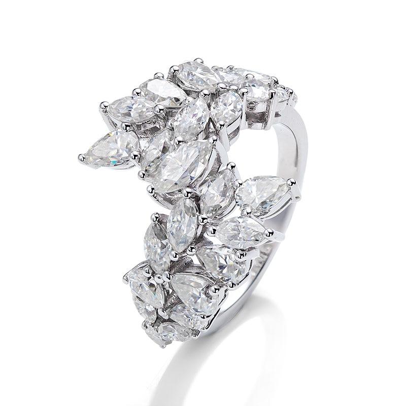 18K الأبيض D VVS1 خاتم مجوهرات الأزياء الاتجاه نمط الكمثرى الصغيرة والماركيز قاطع زهور شكل مجوهرات احترافية المورد