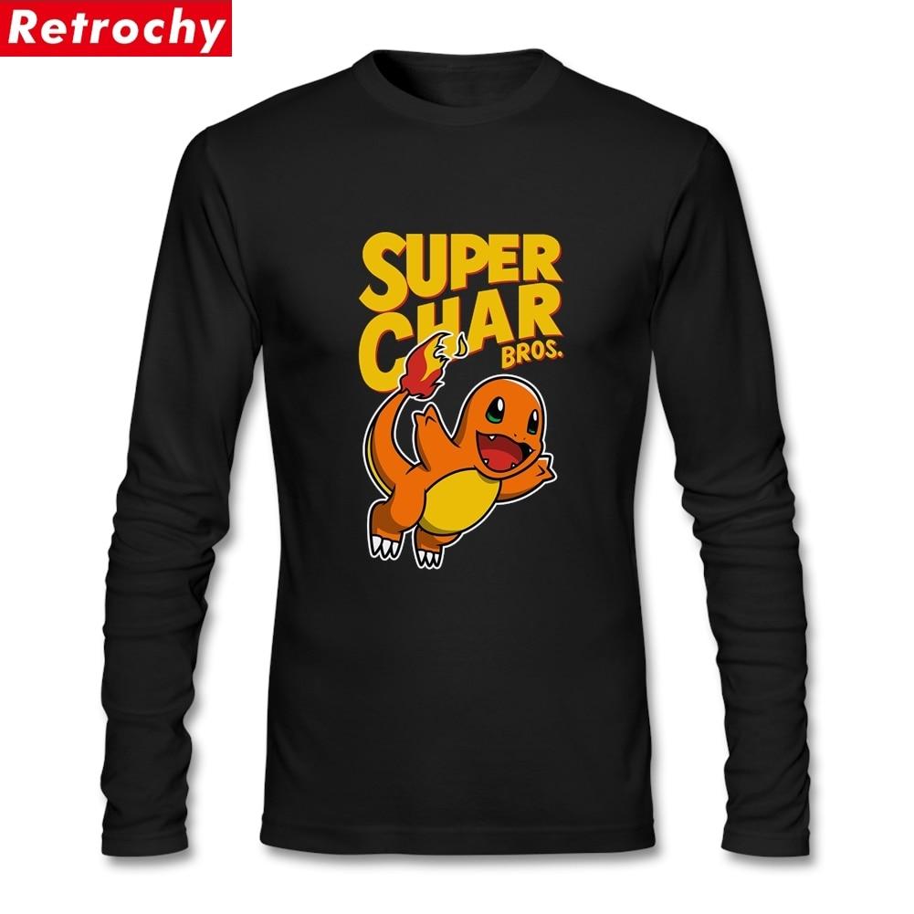 Pokemon Camisetas De charmander camisetas novedosas para hombre manga larga de algodón Natural cuello redondo
