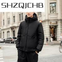SHZQ зимнее пальто Мужская брендовая куртка с капюшоном одежда 2021 Толстая теплая короткая парка на утином пуху пальто зимняя одежда LW1652