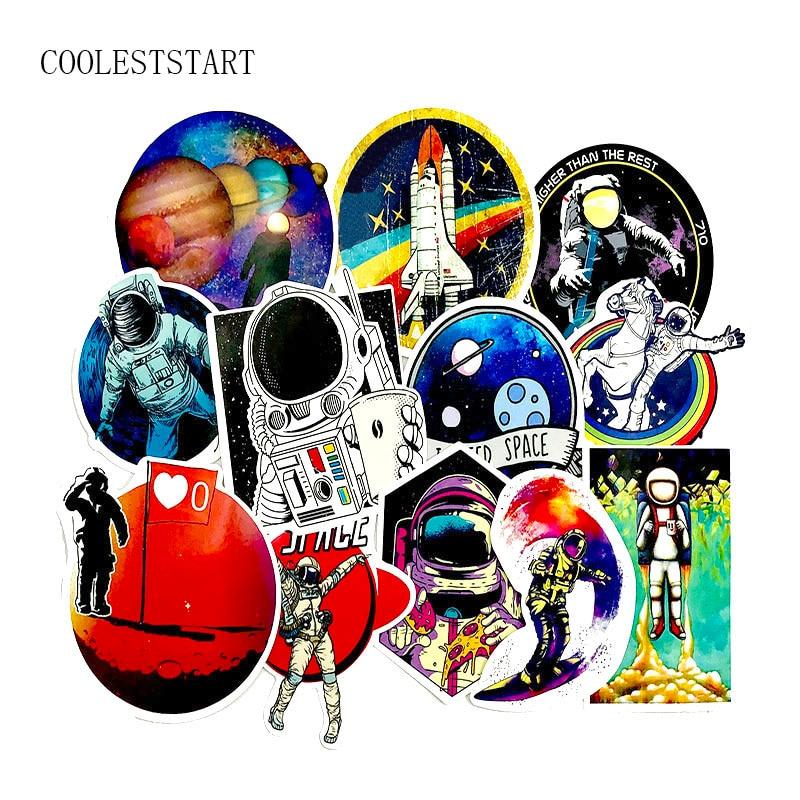 50 unids/set Pao astronautas Space Station Graffiti para guitarra Skateboard nevera portátil Notebook motocicleta PVC impermeable