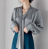 Acetate satin white ribbon shirt female design sense niche elegant temperament loose high-end french top tide  V-Neck