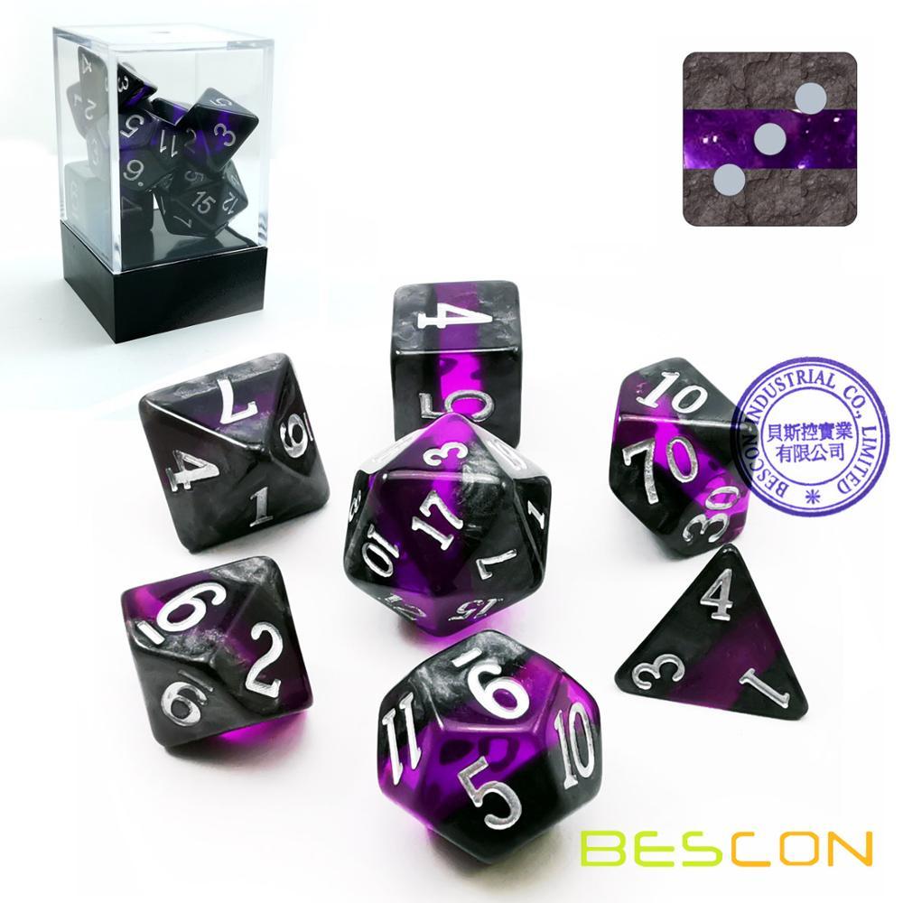 Bescon rochas minerais gem videiras polyhedral d & d dice conjunto de 7, rpg jogo de jogo rpg jogo de jogo de dados 7 peças conjunto de ametista