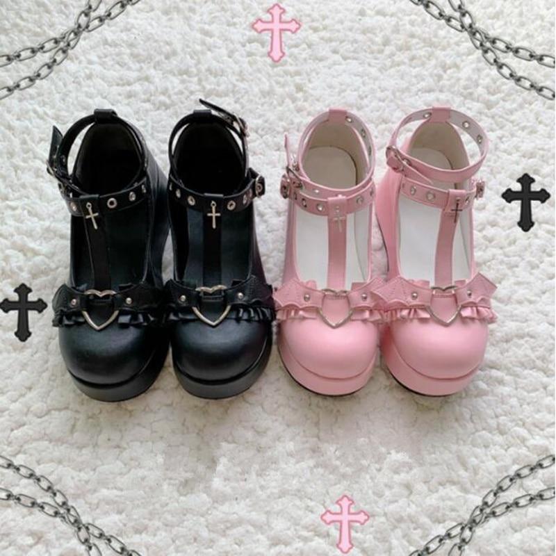 لوليتا أحذية Kawaii أحذية Loli ديفيليان ليتل بات نمط Bowknot شيطان الظلام القوطي الشرير منصة تأثيري LoliShoes عالية الكعب 5.5 سنتيمتر