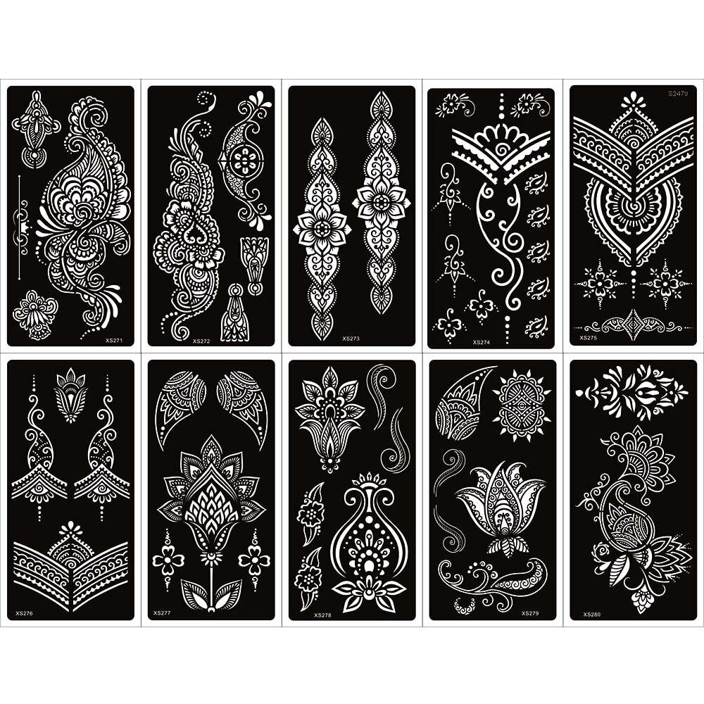 10 blatt Indina Arabischen Mandala Henna Tattoo Schablone für Körper Malen, mehndi Selbst-Klebstoff Tattoo Vorlagen für Hand 9,5x18,5 cm
