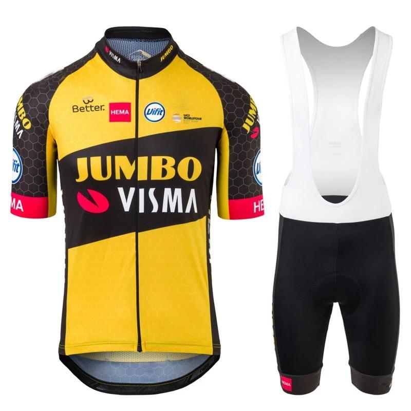 NEW 2021 Jumbo Visma Pro Team Cycling Jersey Short Sleeve Bike Clothing Set Breathable Road Bicycle