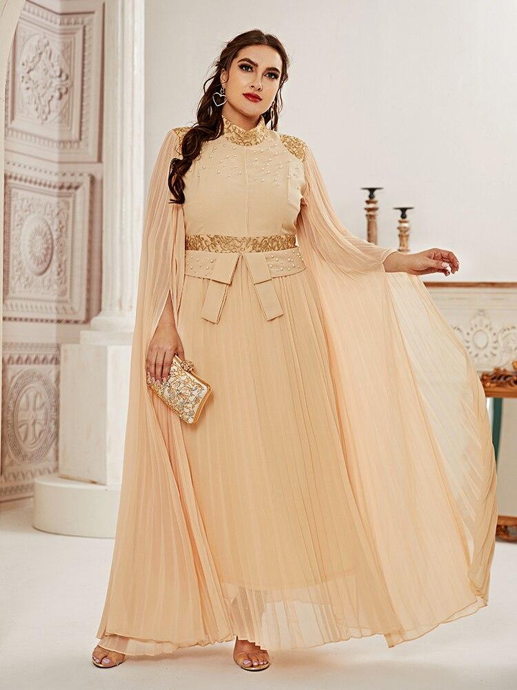 2021 Абая длинные весенние женские с рюшами женские платья больших размера плюс сетки шить Модное Элегантное котельное Макси платье