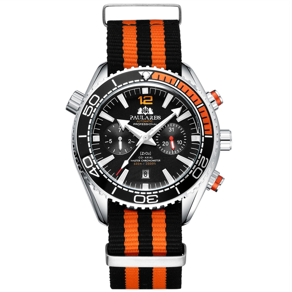 Hombre automático auto viento mecánico naranja Negro Azul Rojo gris correa de lona James Bond 007 estilo multifunción fecha mes reloj