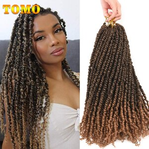 TOMO 18 inch Pre-twisted Passion Twist Crochet Hair 12Roots Pre-looped Bohemian Curly Braids Synthetic Braiding Hair Extensions