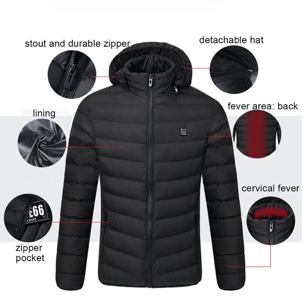 Jachete încălzitoare USB de iarnă pentru bărbați, termostat - Imbracaminte barbati - Fotografie 6