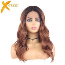 Perucas sintéticas da parte dianteira do laço ombre loira onda natural preto loira ombro comprimento resistente ao calor do laço peruca para mulher X-TRESS