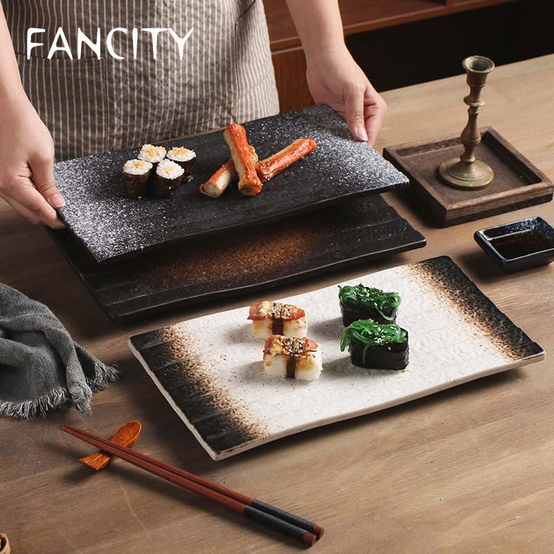FANCITY-طبق سوشي ياباني مستطيل ، أطباق سيراميك ، أطباق طعام غربية ، طبق كيك مسطح