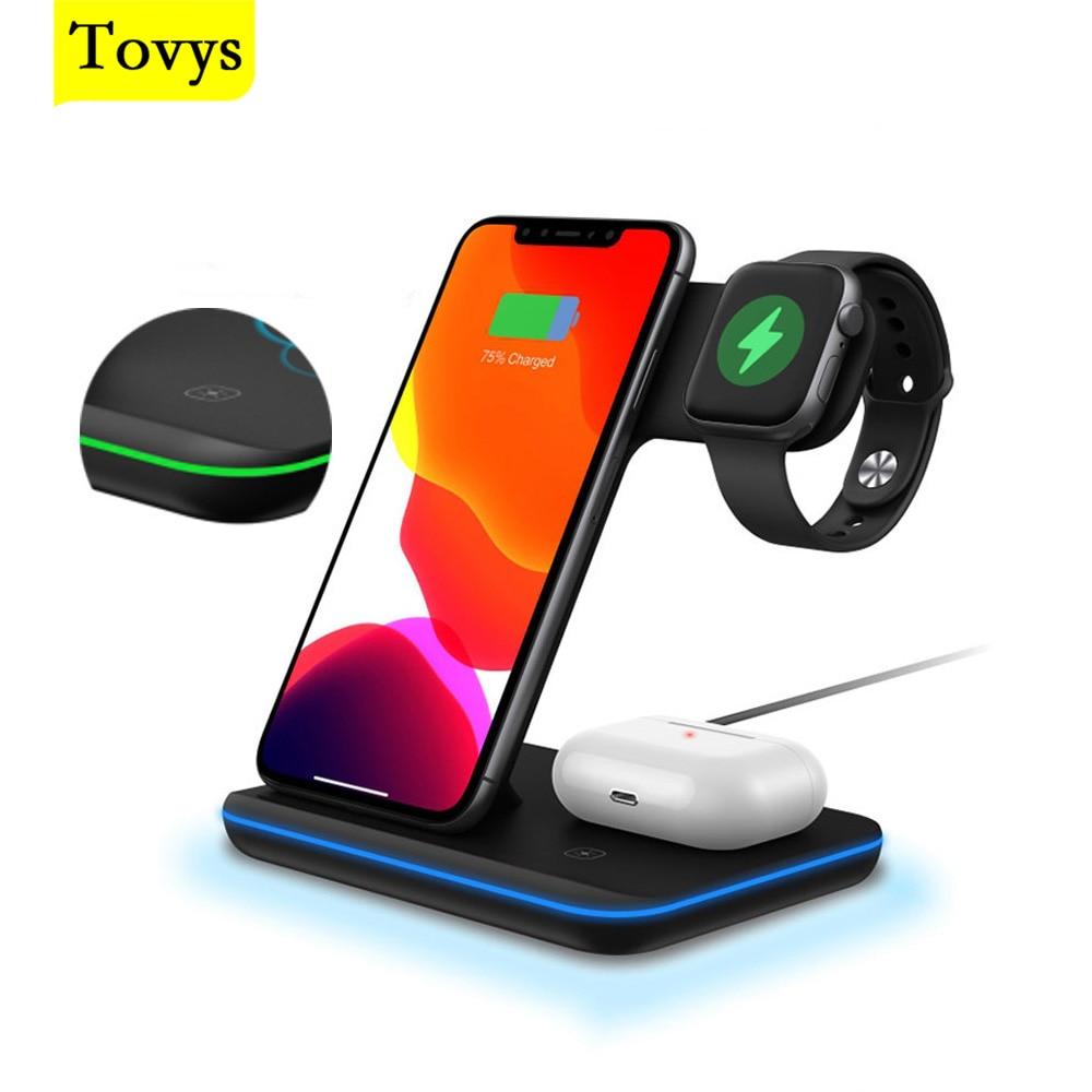 Tovys تشى شاحن لاسلكي ل iphone عمود شحن حامل ل محطة الهاتف ساعة Airpods iWatch التعريفي اللاسلكية شاحن