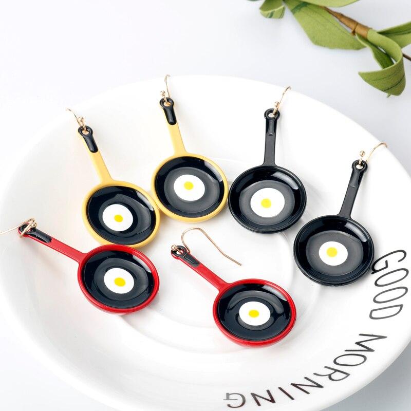 1 par de pendientes divertidos Mini pala Pan frito huevo forma esmalte gota pendientes joyería accesorios femeninos