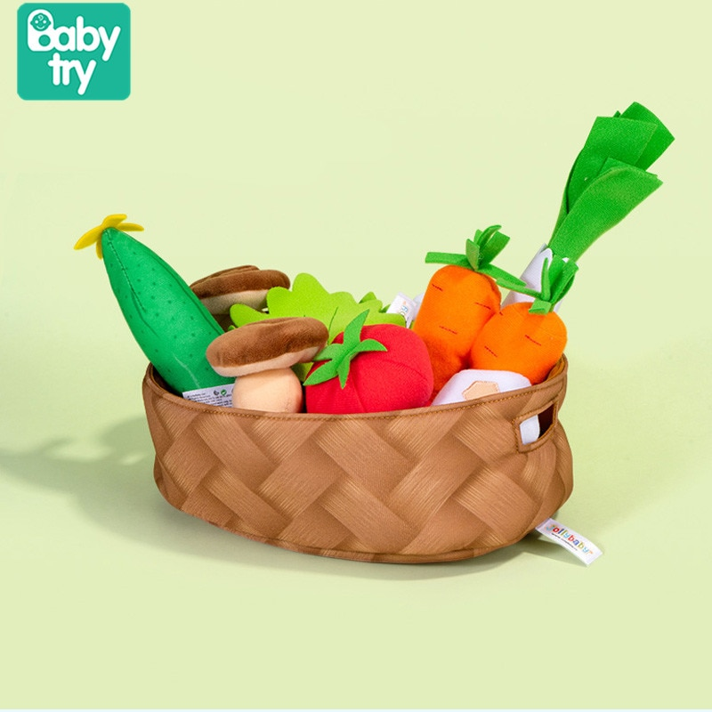 Soft Stuffed Plush Toys for Baby 0 12 24 months Pretend Play Vegetables Chef Cooking Set for Toddlers Educational Xmas Gift