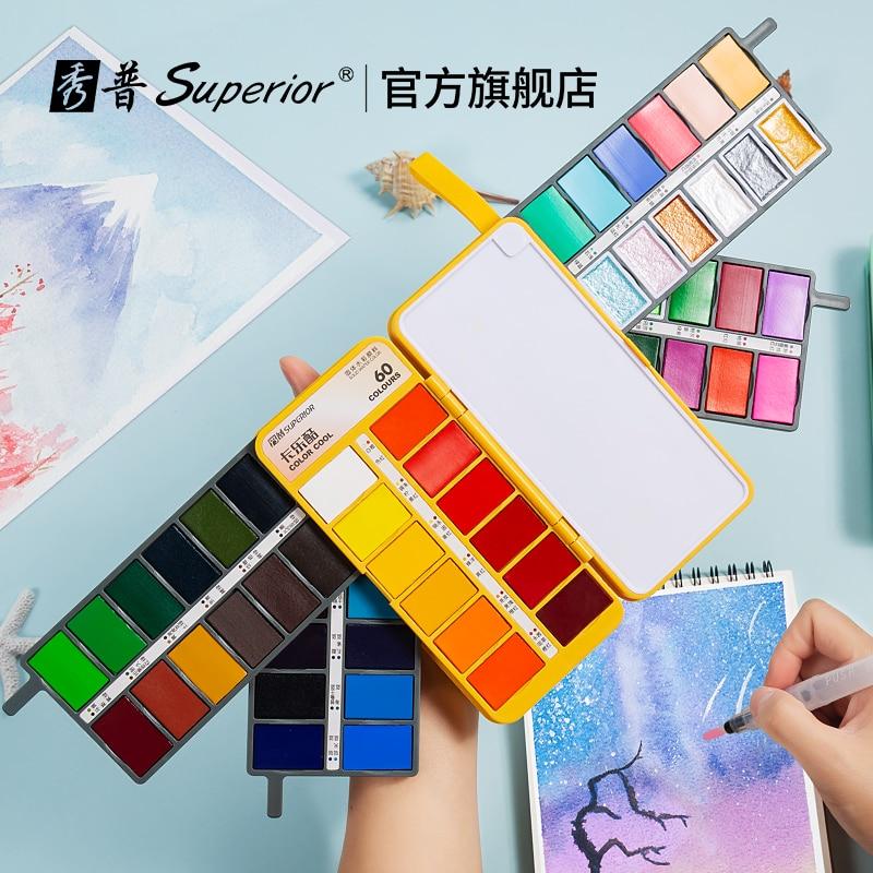 Улучшенный 36/48/60 цветов Веерообразный однотонный цвет, яркий цвет, набор цветов, перламутровый цвет, цвет макарон