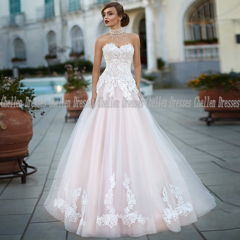 2021 New Elegant Simple Pink Sweetheart Custom Made Lace Appliques Sleeveless Backless Tulle A Line