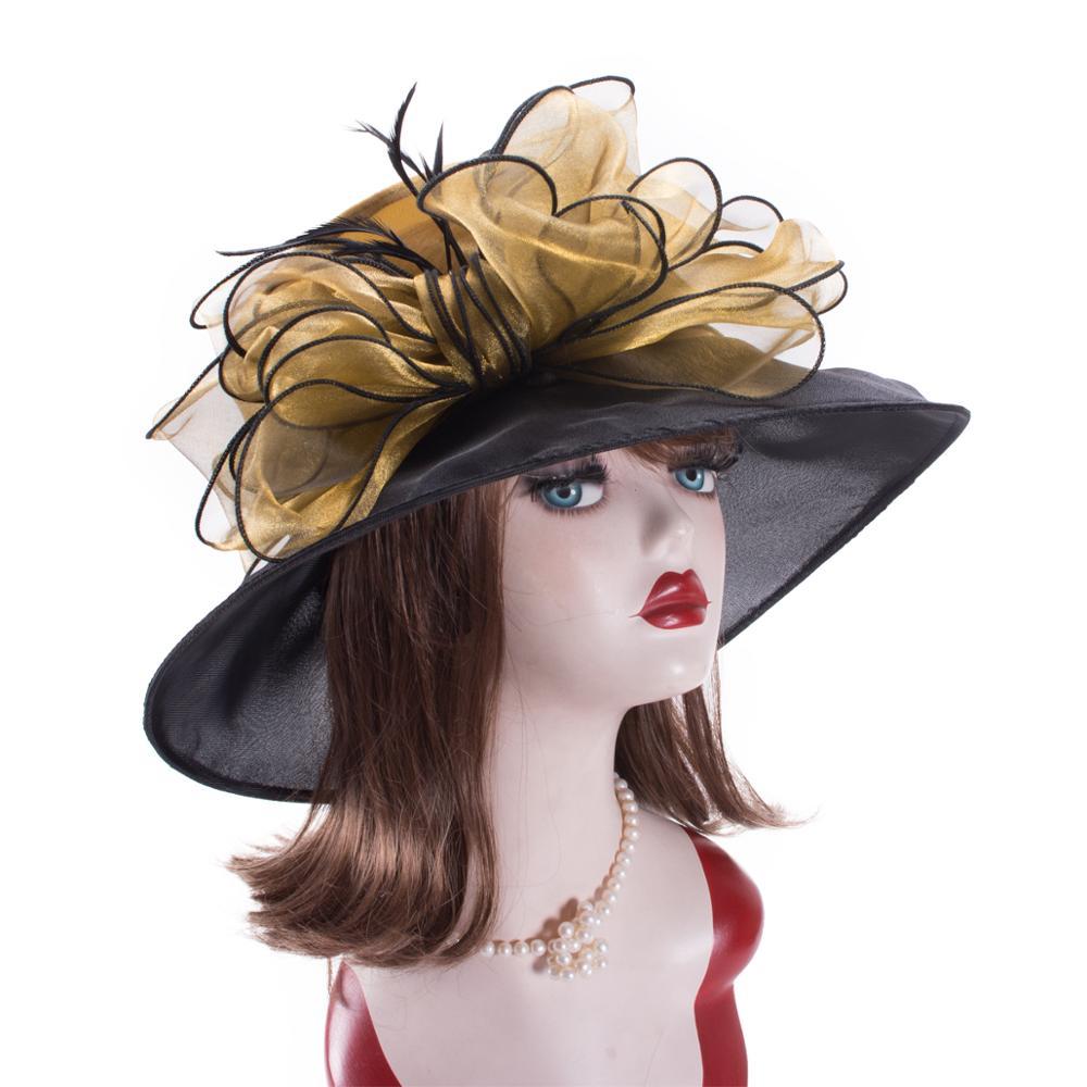 ЖЕНСКИЕ НАРЯДНЫЕ шляпы с широкими полями, шляпы от солнца, церковные Свадебные чайные вечерние форменные цветочные шапки для мам и детей, го...