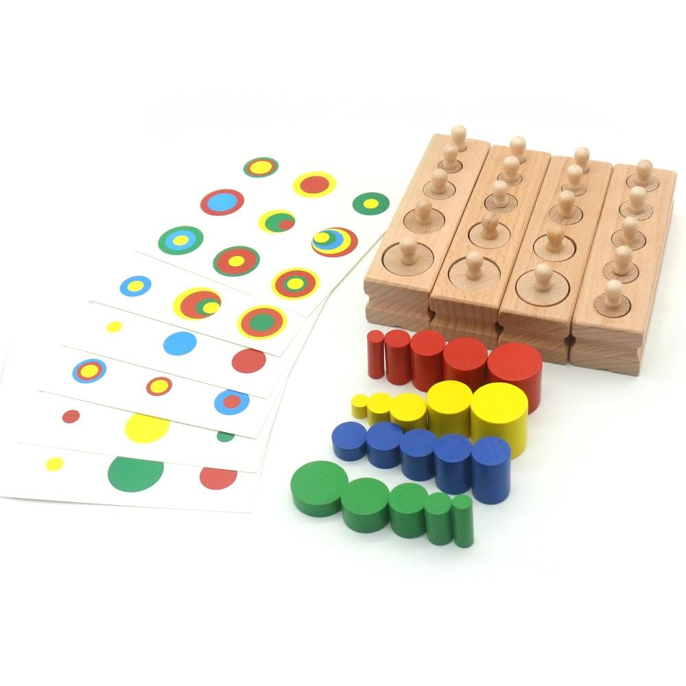 Цилиндрические блоки Монтессори и набор карт, сенсорные игрушки, развивающие деревянные игрушки для детей, сортировка Juguetes k234h