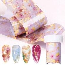 1 Box Marble Series Nail Foils Pink Blue Nail Foil Paper Sticker Nail Art Transfer Sticker Slide Nail Art Decals  Design