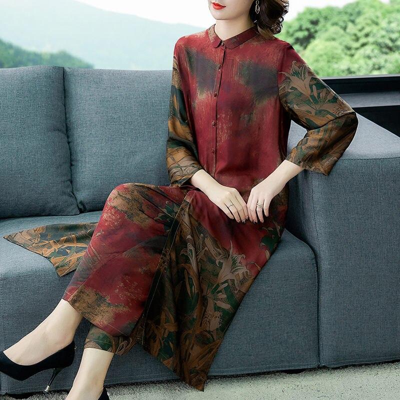Retro de dos piezas primavera Otoño de talla grande de longitud media blusa + Pantalones de pierna ancha moda cárdigan mujer túnica Tops pantalones traje K1113