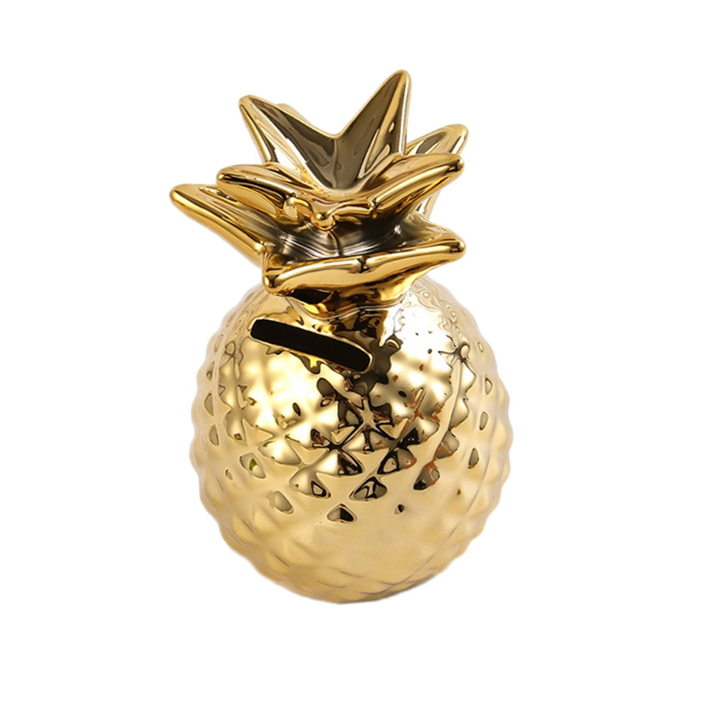 Ceramic Pineapple Piggy Bank Coin Bank Saving Money Box Kids Gift Home Office Shop Tabletop Ornament  - buy with discount