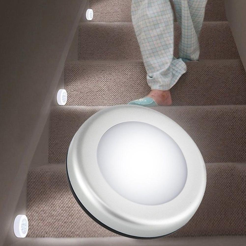 Ночник с 6 светодиосветодиодный и умным датчиком движения, круглый светильник для кабинета, коридора, лестницы, прикроватная лампа